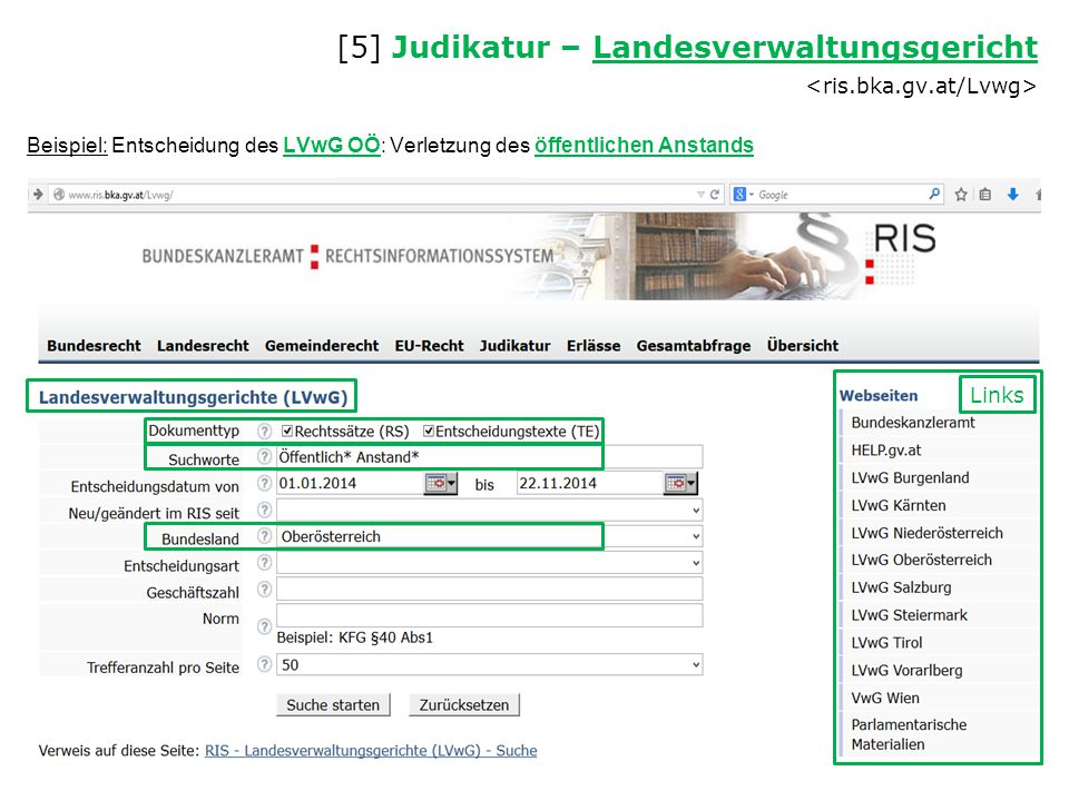 [5] Judikatur – Landesverwaltungsgericht <ris.bka.gv.at/Lvwg>